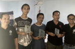 The June 2016 APECC Executive Chess champion, Michael Arman Caoile, and runner-ups John Paul De Guzman and Edgar Bautista, display their plaques in this photo with APECC officers Val De Guzman and Roland Roselada (President).