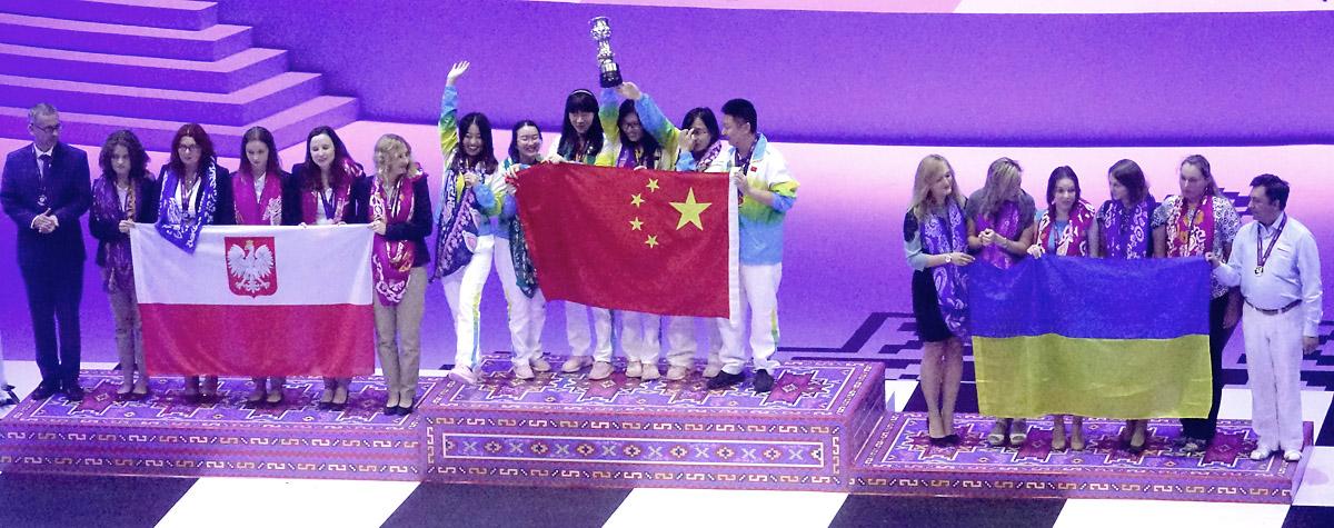 The winners of Baku 2016 Chess Olympiad Women: Silver - Poland, Champion - China, and Bronze - Ukraine
