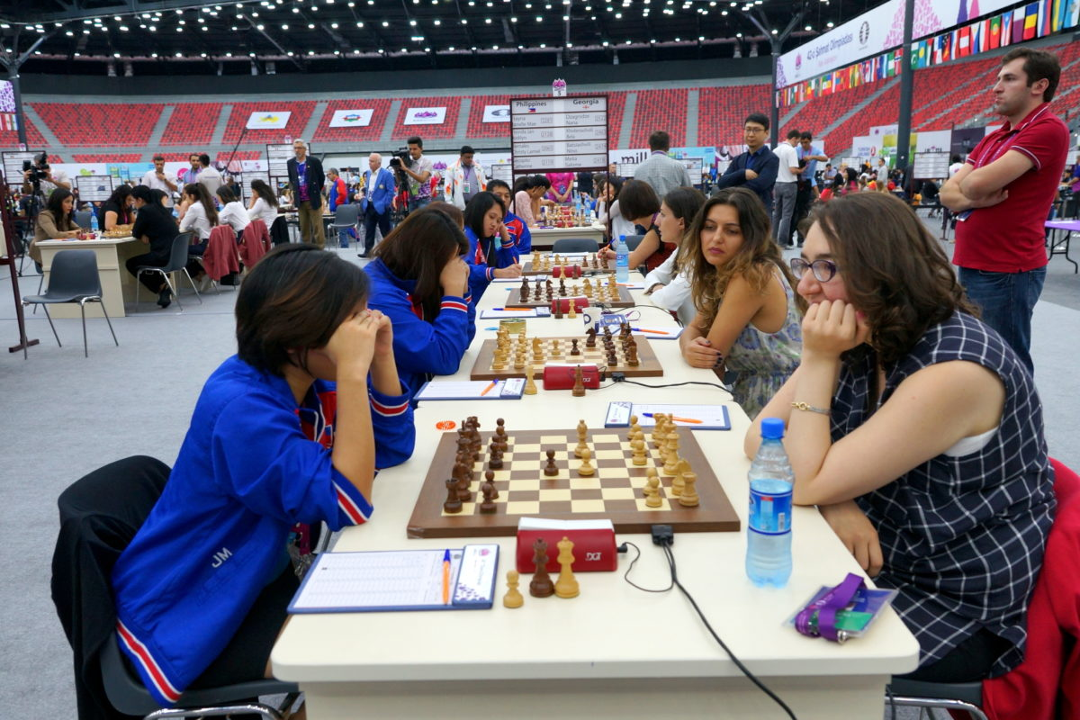 Philippines Women Team Pulls an Upset Against the 4th Seed Georgia in Round 2 of Baku 2016 Chess Olympiad